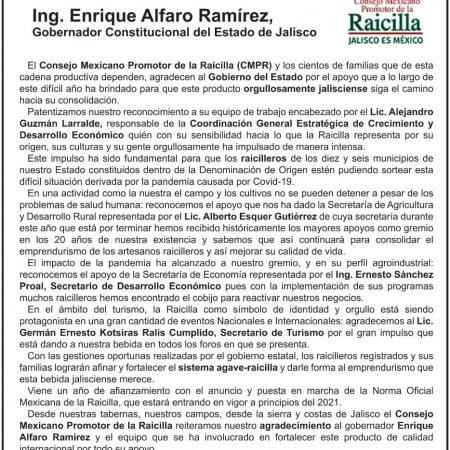 Desplegado Consejo Mexicano Promotor de la Raicilla.